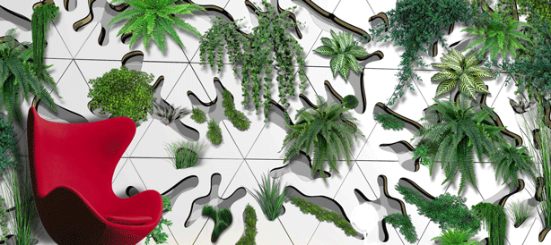 Concrete Indoor-Outdoor Modular Green Wall Tiles From France