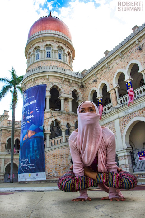 72) Ninie Ahmad-Forget ~ Kuala Lumpur, Malaysia: Malaysia banned yoga for Muslims (60% of its population) in 2008. The ban uplifted shortly but yoga studio operators are warned not to include chanting and meditation in its classes.