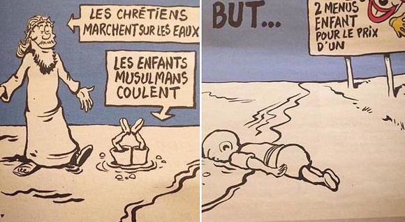 Charlie Hebdo publishes cartoon of drowned Syrian toddler Aylan Kurdi