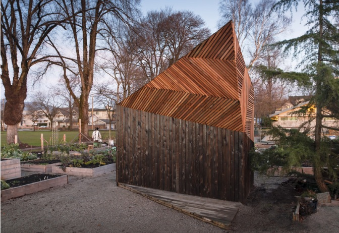 Sleek Angle On a Community Garden Shed