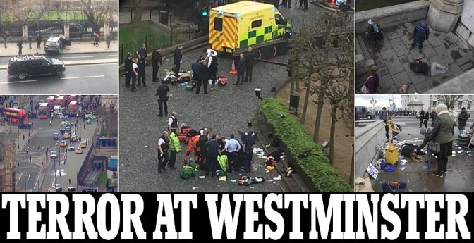 Parliament in lockdown: Police open fire outside Westminster and shoot knife-wielding man amid reports of explosion and 'at least 12 pedestrians mowed down on bridge'