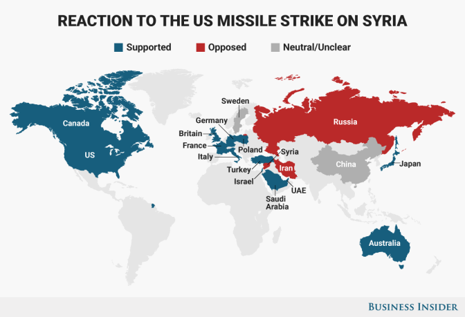 Here's how the world reacted to the US' missile strike on Syria