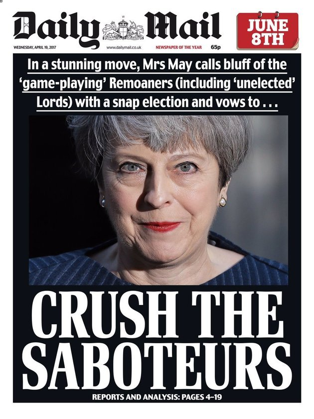 Daily Mail's 'Crush The Saboteurs' Front Page Prompts Backlash