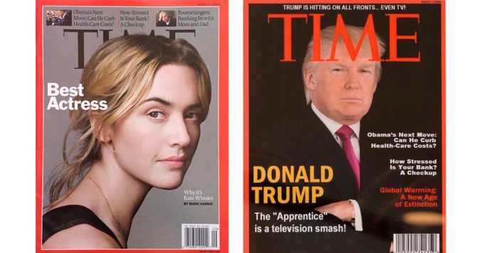 A Time magazine with Trump on the cover hangs in his golf clubs. It's fake.