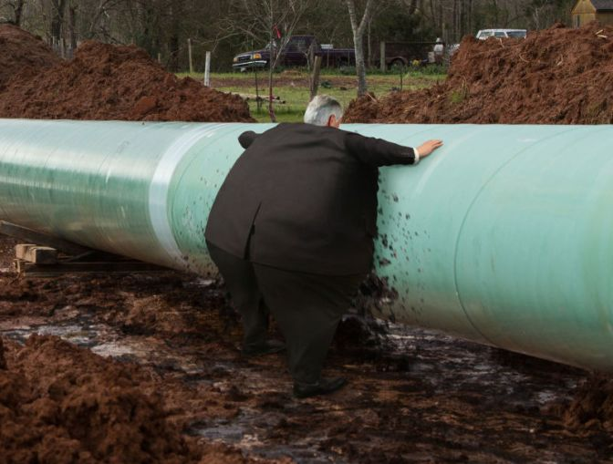 Swollen Rex Tillerson Spotted Rushing To Place Mouth Over Leaks Spouting In Keystone Pipeline