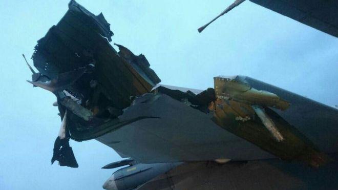 Syria war: Photos 'reveal' Russia jet damage at Hmeimim base