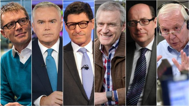 Six male BBC presenters agree to pay cuts