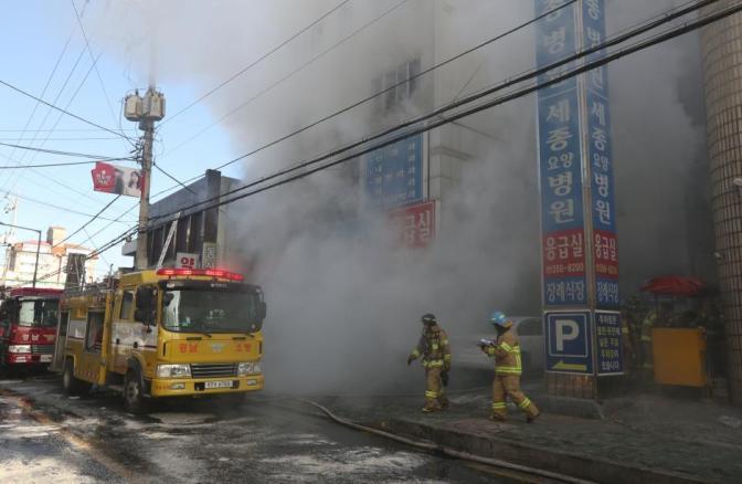 South Korean hospital blaze kills at least 37, fleeing patients brave flames